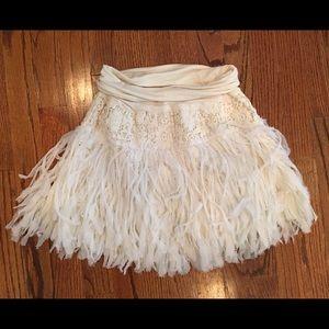 Free people fluffy fringe mini skirt size XS white