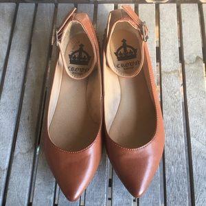 Crown Vintage Jozlyn Cognac Ankle Strap Flats