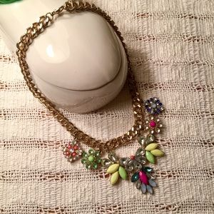 Floral rhinestone statement necklace