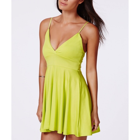 Missguided Yellow Herta Lime Strappy Skater Dress 6f031fe3b
