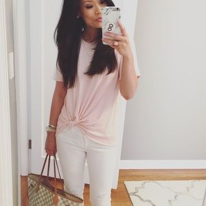 Pale Pink Knotted Tee/Blouse