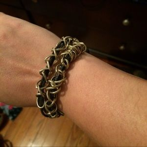 Beautiful Leather Bracelet w/ Gold Ring Accents