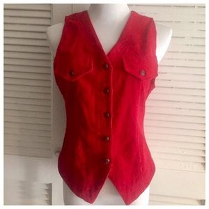 Vintage Tops - 🎈Vintage 1980's Corduroy Red Vest! Small, Fab!