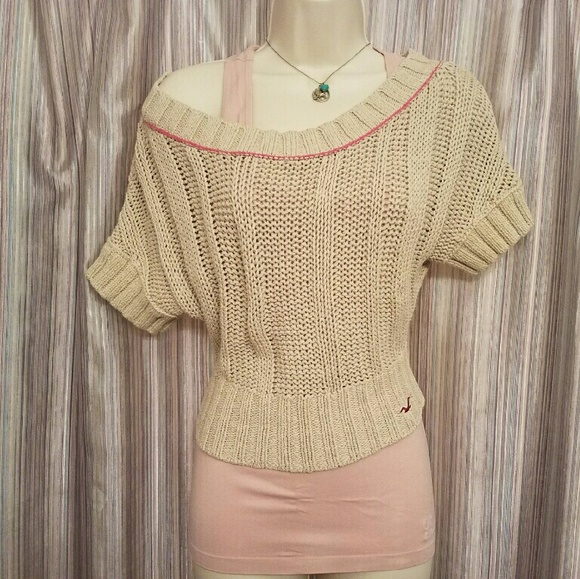 Hollister Tops Knit Cropped Off The Shoulder Sweater Poshmark