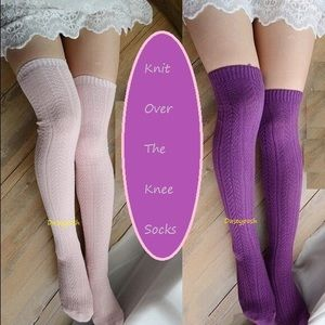 HUE Accessories - Knit Over The Knee Socks Thigh High Purple Pink