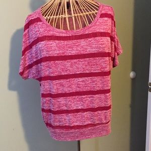 Almost Famous Tops - Pink and red striped shirt.