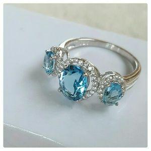 Glamouresq  Jewelry - 925, 18k GP,  Topaz & Sapphire Ring NWOT