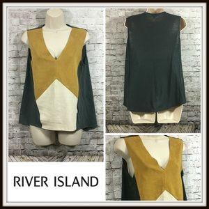 River Island Color Block Microsuede V-Neck Top
