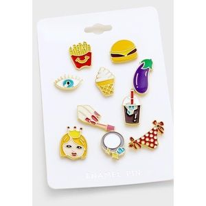 Jewelry - 1HR SALE 10PC EMOJI HAMBURGER FRIES ENAMEL PIN SET