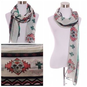Accessories - SUGAR SKULL AZTEC CROSS SCARF DAY OF THE DEAD WRAP
