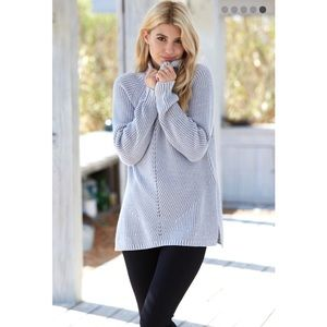 Honey Punch Sweaters - Gray Stitch Mix Turtleneck Sweater