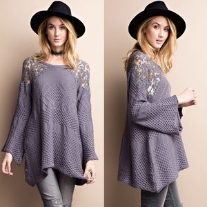 LILIA knit sweater top w/ bell sleeves - SMOKE