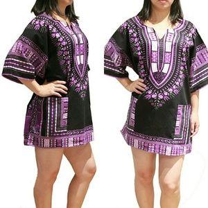African Dashiki Shirt - Black & Purple