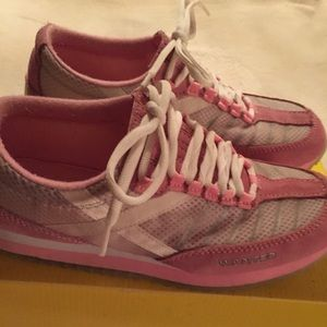 Wanted Shoes - Pink and white laced slip on sneakers wom size 8