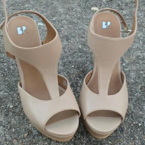 ed79e8c4b BP Shoes | Nordstrom Nude Tstrap Wedge Heels 75 Tan | Poshmark