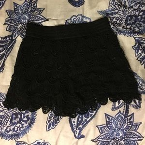 Pants - Black Crochet Shorts