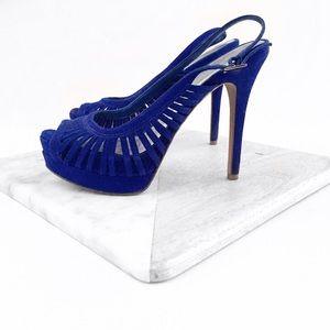 Jessica Simpson blue suede heels