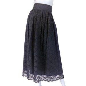 Laura Ashley Dresses & Skirts - VINTAGE LAURA ASHLEY LACE SKIRT   Black 80s MAXI