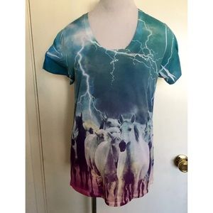 Tops - Multi Color Horse Shirt Small