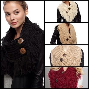 Accessories - 🎉HP🎉 Knit Shawl Scarf With Buttons In 5 Colors