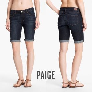 Paige Denim Canyon Jean Shorts Dark Blue Wash