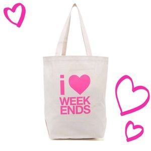  Dogeared I Love / Heart Weekends Canvas Tote