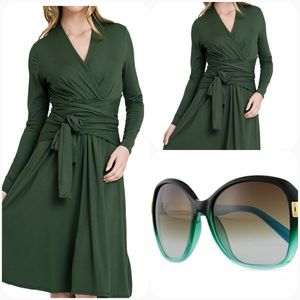Dresses & Skirts - Sale! Long Sleeve Wrap Style Dress in olive! HP!