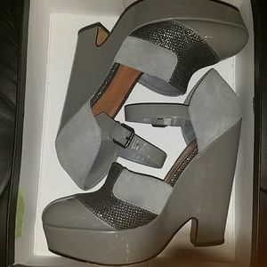Sexy Grey Mary Jane Wedge Leather Platforms