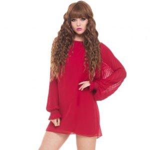 Analili Dresses & Skirts - [analili] Red Dress w/ Ruffle Sleeves, Med., NWT