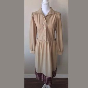 Anthony Richards Dresses & Skirts - Modest Long Sleeve Striped Midi Dress Vintage Look