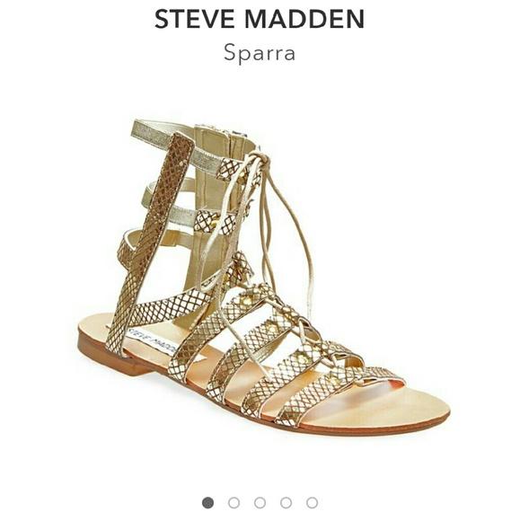 9a2e67f20be Steve Madden Sparra gold gladiator sandals