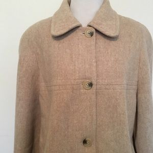 London Fog Jackets & Blazers - London Fog Oatmeal Wool Mid Length Coat