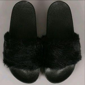 SARAH SIAH Shoes - LAST 5, 7 & 8 ♩ Fuzzy Faux flat Black!