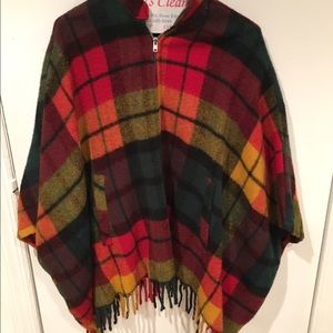 Vintage plaid fringe cape S