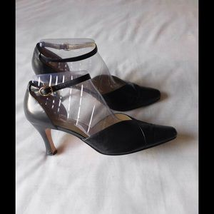 Jack Sprat Shoes - Real Leather! Dark Blue Low Heel Shoes W/ Straps