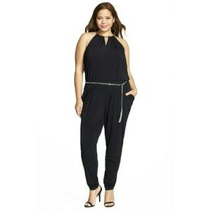 Michael Kors Pants - MICHAEL KORS Chain-neck Belted Slim-leg Jumpsuit