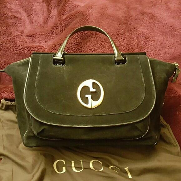 00627dbb66a Gucci Handbags - Gucci 1973 Top Handle Tote Black Suede