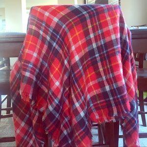 Red Plaid Blanket Scarf NWOT