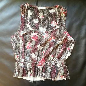 Lush Tops - Lush flower pattern sleeveless crop top