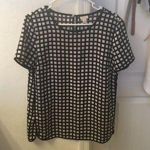 J crew black and white plaid silk blouse