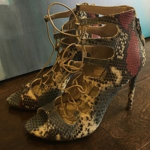 Zara collection multi color snakeskin heels
