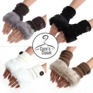 Faux fur fingerless mittens
