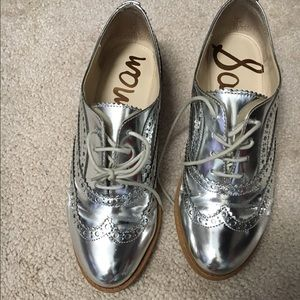 Sam Edelman silver loafers