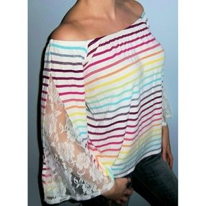 Tops - New OFF SHOULDER Rainbow Stripe LACE Top