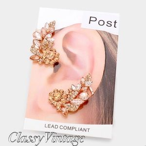 boutique Jewelry - Rose gold crystal post & clip earrings & cuffs