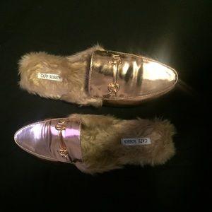 Rose Gold Faux Fur Loafer Slipper