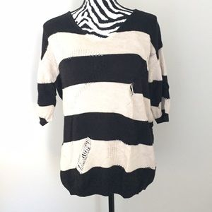 Rome&Juliet Couture Destroyed Striped Sweater