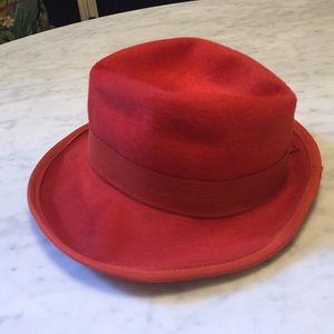 Vintage Accessories - Vintage red wool fedora hat 260b6f208a6