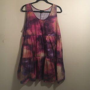 ASOS tie dye space print tiered A-line dress