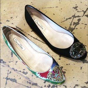 💯%Auth Oscar De La Renta Embellished Fabric Flats
